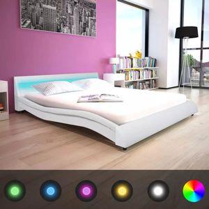 STRUCTURE DE LIT Lit double Cadre de lit avec LED 160 x 200 cm Cuir