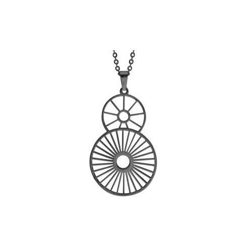 Collier acier PVD noir pendentif motif soleil 42+4
