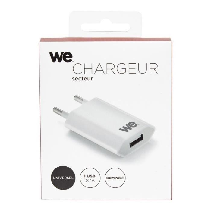 WE Chargeur secteur - 1 USB 1A - Blanc
