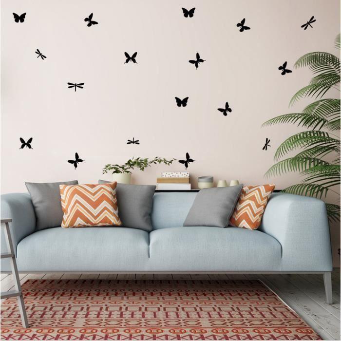 Autocollant Mural Wallsticker Wallpaper Decor Papier Peint Mur Décoration  Simple Bricolage Et Créatif Papillons Volant Amovible
