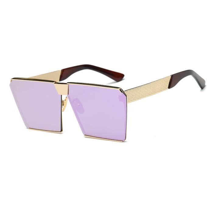 Lunettes de soleil mixte homme et femme polarisées marque de luxe sunglasses fashion Golden/Violet