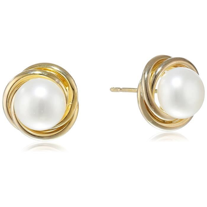 Craze 10k Yellow Gold 7-8mm White Button Freshwater Cultured Pearl Knot Stud Earrings HANXN