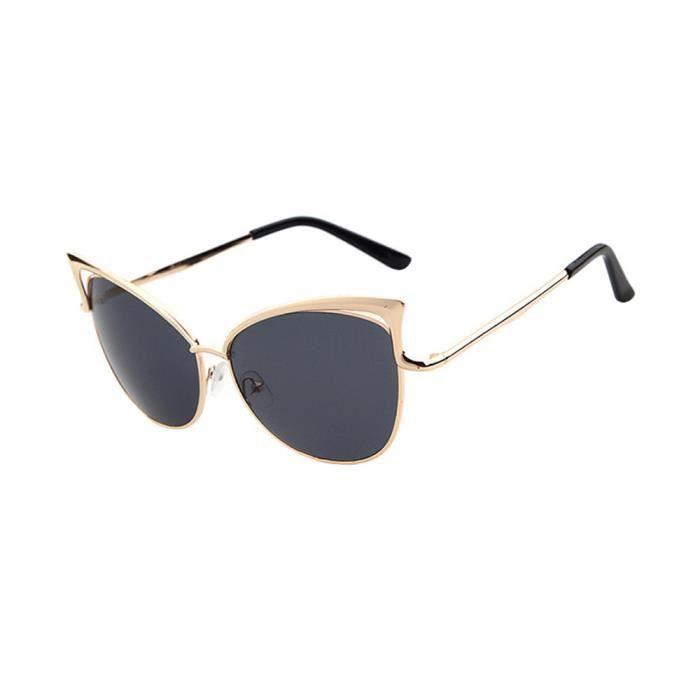 Lunettes de soleil de mode de femmes de chat doreille de trame en métal de lunettes de soleil de la marque Classic Tone gris