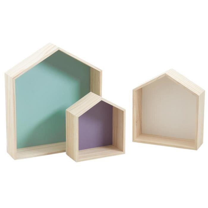 Série de 3 étagères maisons en bois colorées   Achat / Vente