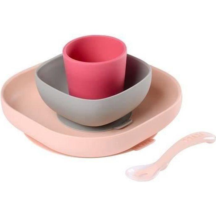 COUVERTS BÉBÉ BEABA Set vaisselle silicone 4 pièces - pink