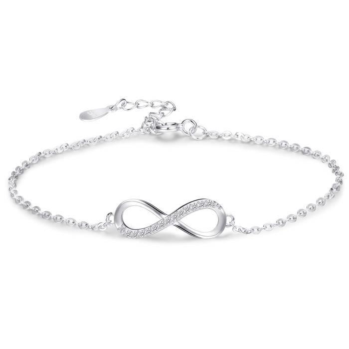 238a805fb8bff BESTEEL 925 Argent Bracelet Infini pour Femmes Filles Amour Bracelet  Cheville Chaîne avec Zircon Cubique Cadeau Anniversaire si