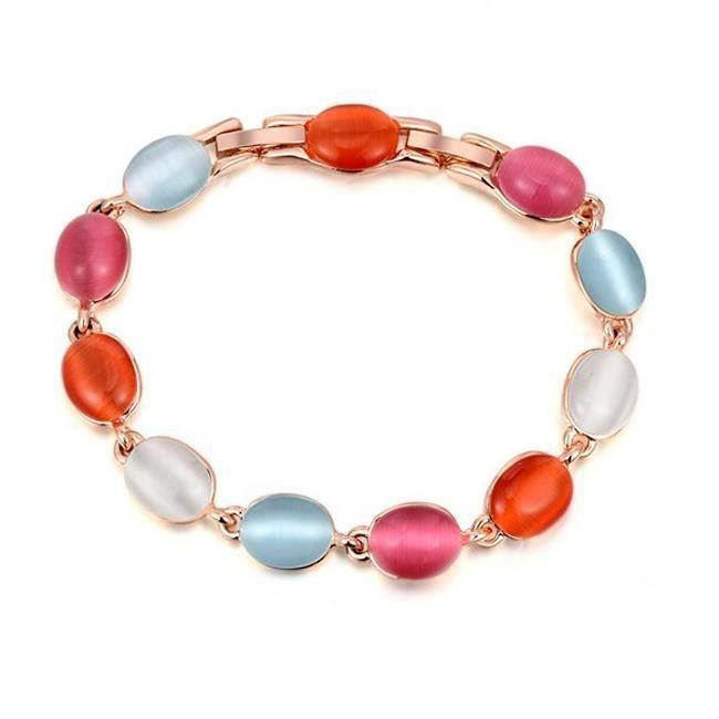 Or rose bracelet coloré opale.