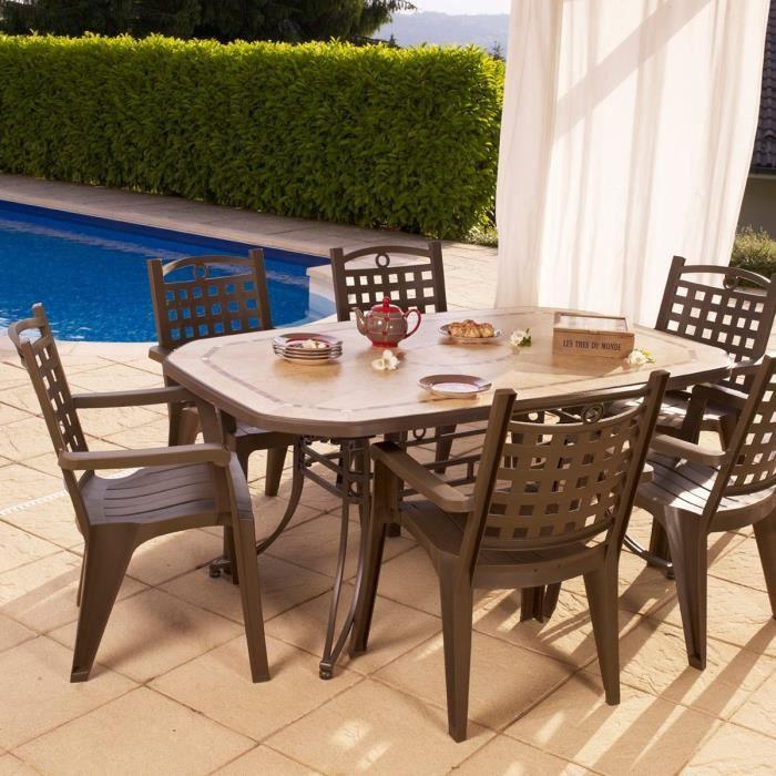 Salon de jardin de repas Amalfi-Bora design GROSFILLEX Bronze ...
