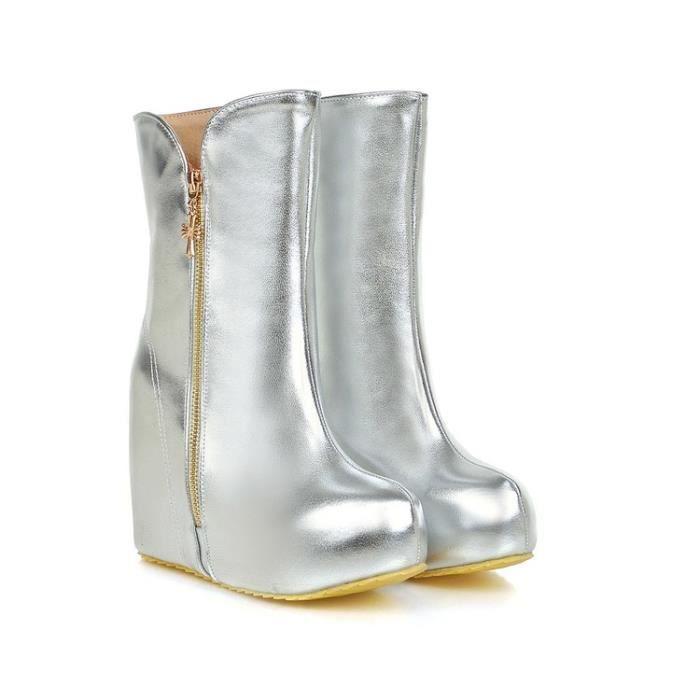 bottes courtes-Pur Bottes Plateforme Couleur Flats Heighten cheville de femmes de