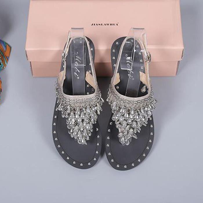Sandale Femmes Sexy Chaussure plates Sandales perlées KIANII® Argent 9d3PiaIYg