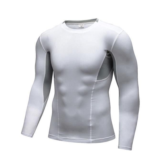 Chemises Compression T Fitness Manches Sport Homme Shirt Longues Gym bYgyf76