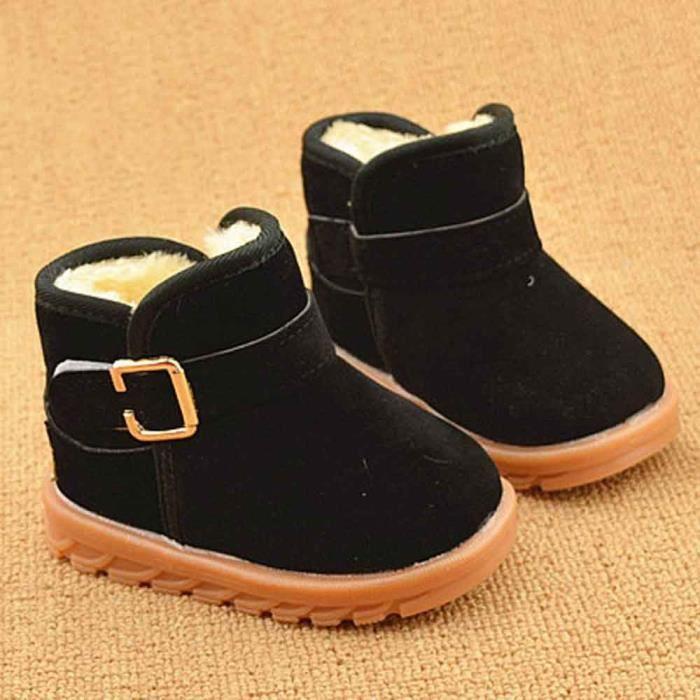 Mode d'hiver de bébé de modèle de botte de coton de bottes chaudes de neige noir chPqG