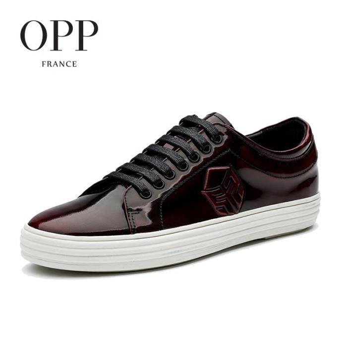 Chaussure Skateshoes Chaussures Décontracté Cuir Modetaille 44 EU OC17129-9-Bordeaux