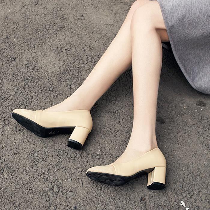 Mode élégant à talons hauts chaussures pointues Souliers de mariage Chaussures de mariage femmesKaki WE548
