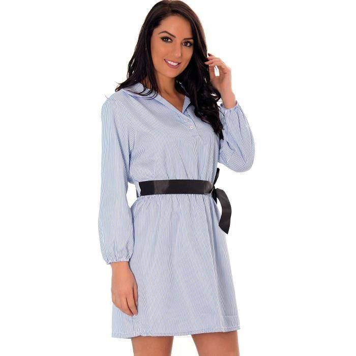Miss Wear Line - Robe tunique rayures bleu ciel avec ruban à la taille