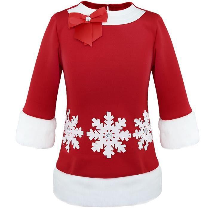 60a4df2f5ad Déguisement Robe Mère Noël enfant fille - Rouge neige de Noël Col rond  Soirée Anniversaire fête maison - de 2 à 6 ans