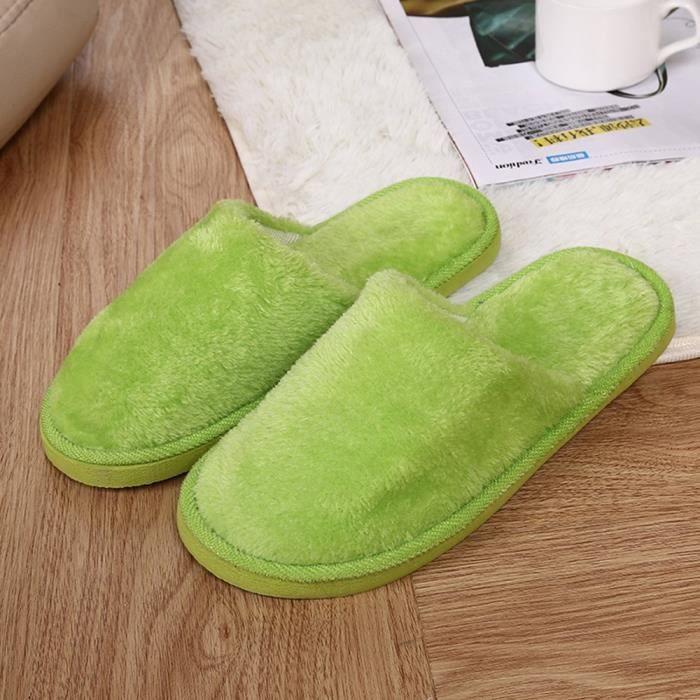 Chaussures vert Femmes Peluche Chaussons Chaudes Antidérapants Étage Chambre Accueil En Intérieur D'hiver xSCqOwB0n