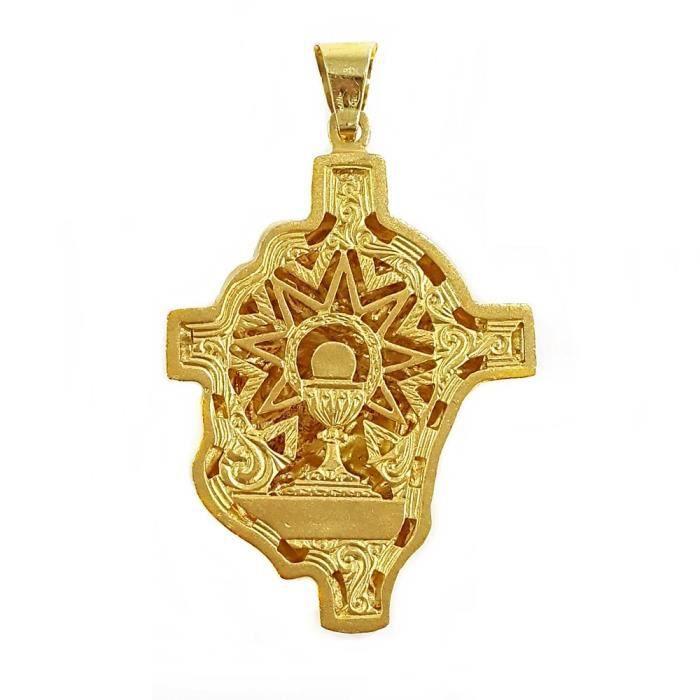 Pendentif tête Christ face 53mm croix dor 18 carats. [AB4185]
