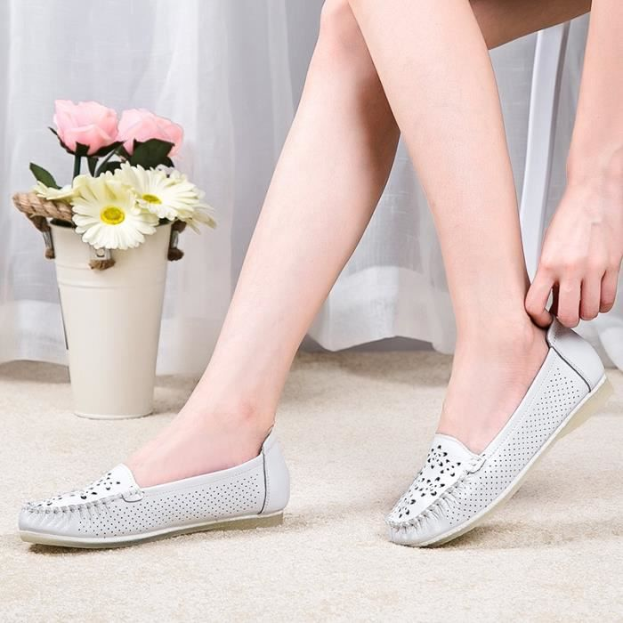 MOCASSIN pour Femmevert 36 Mode Chaussures en cuir Flats Mère Slip-on Chaussures Casual respirant Chaussures confortab_46254