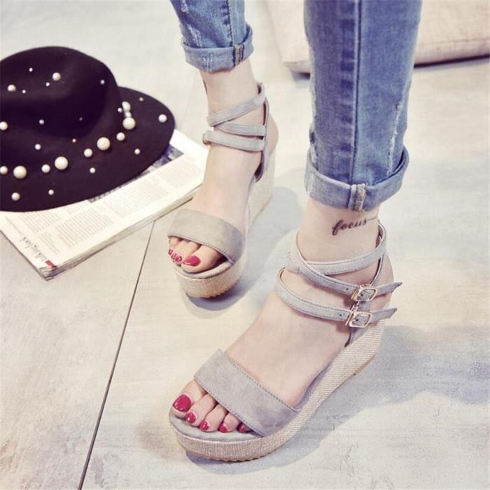 ete Sandale femme Talons hauts Haut qualité sandales femme anti-glissement Confortable chaussures personnalité dssx434gris36