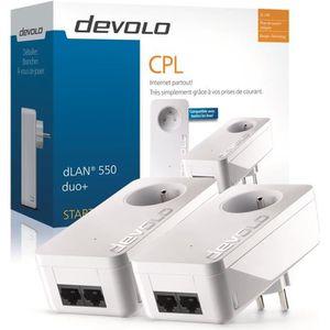 DEVOLO Kit 2 CPL 500 Mbit/s, 2 ports Fast Ethernet, Prise Filtrée Intégrée, Kit de démarrage 9298 dLAN 550 Duo+