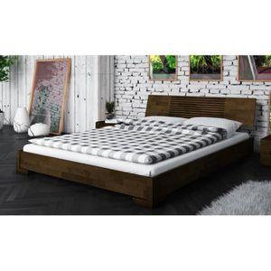 STRUCTURE DE LIT Lit bas wenge marron design en bois 140 x 190 cm -