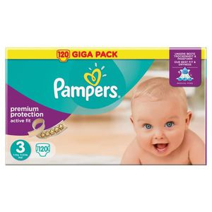 COUCHE PAMPERS Active Fit Taille 3 - 4 à 9 kg - 120 couch