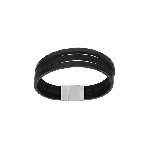 Bracelet acier et cuir noir 3 lacets fermoir aiman