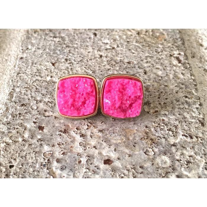 Womens Pink Druzy Gold Studs, 14mm Druzy Gold Earrings, Druzy Earrings, Pink Druzy, Druzy Jewelry, M24TM