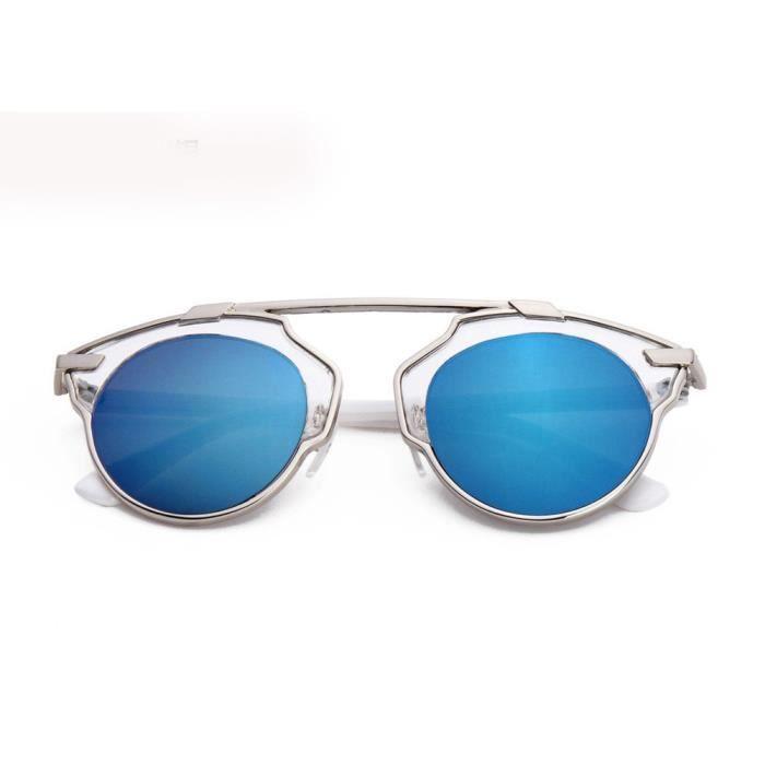 Femmes hommes Vintage rétro lunettes de mode unisexe Aviator lunettes de soleil lentille miroir Transparent avec le mercure bleu
