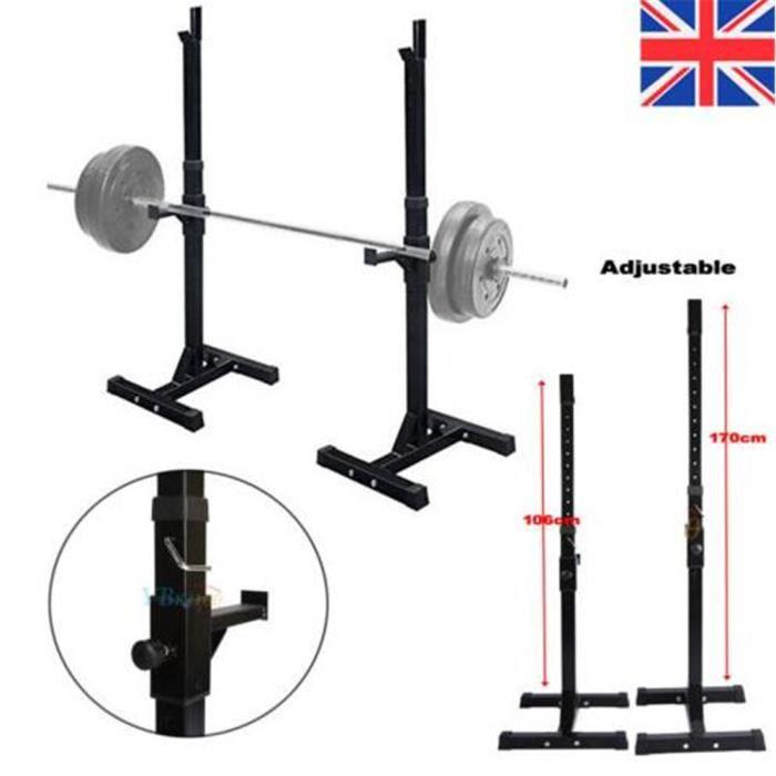 Support De Barres Sports Support Pour Haltères Longs Repose Réglable Gymnase Accroupir Poids Et Haltères Banc De Musculation