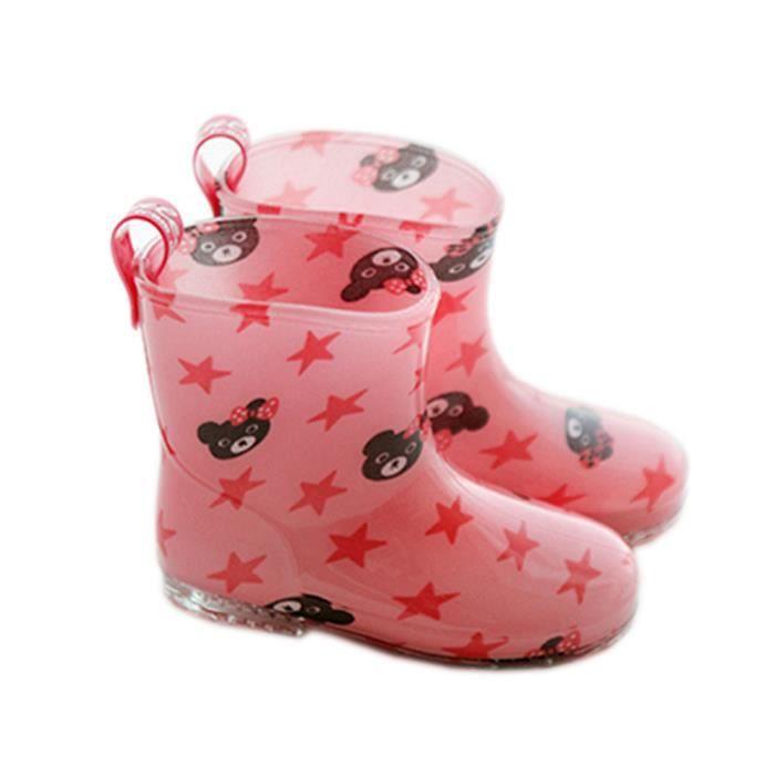 joli bottes de pluie / enfant botte de pluie, ours rose / 17 cm