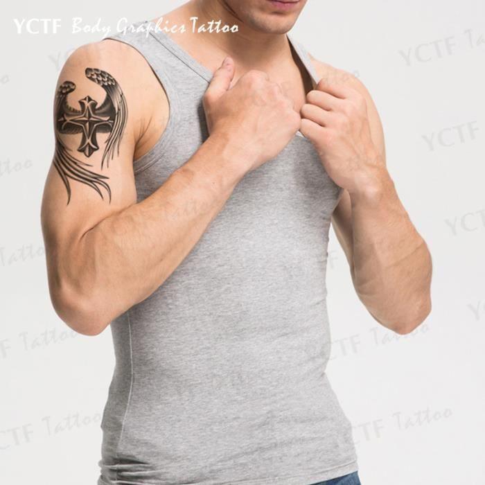 Ailes d 39 ange combinaison tanche tatouage croix autocollants m le achat vente papier - Tatouage aile d ange homme ...