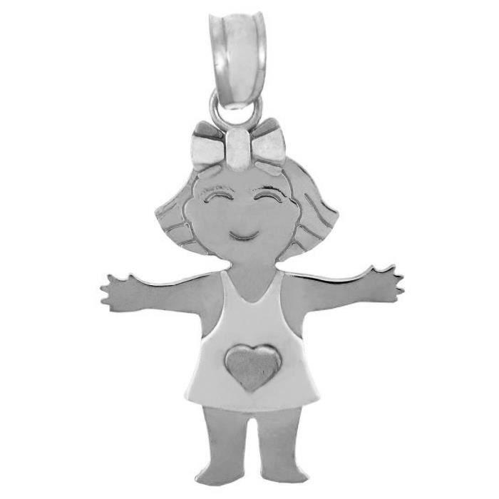 Pendentif 10 ct 471/1000 Or Blanc Baby-Cœur-Fille
