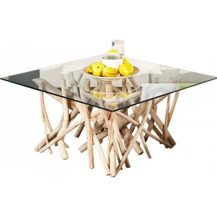 Table Basse Design 80 Cm En Bois Flotte Avec Un Plateau En Verre