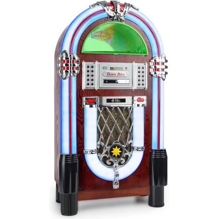 Auna Graceland Tt Chaîne Hi-fi Bluetooth Style Jukebox Années 50 (platine Vinyle, Port Usb, Lecteur Sd, Aux-in, Sortie Rca, Fm-am)