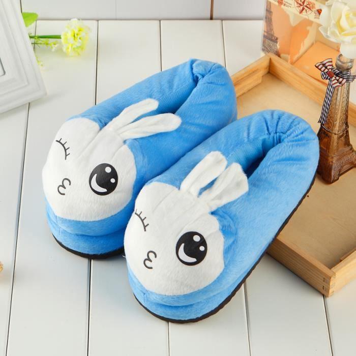 coton pantoufles lapin bleu femmes hiver