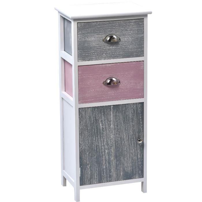 Meuble mdf paulownia gris rose lasur achat vente for Vendeur meuble