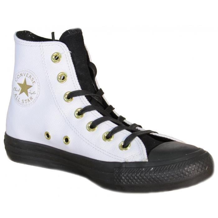 Converse - Converse All Stars CT Hi Chausseres Femme Blanc Cuir 146632