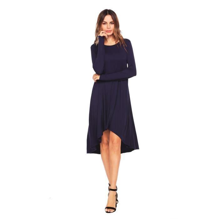 Robe Femmes Longue Manche Asymétrique Solid