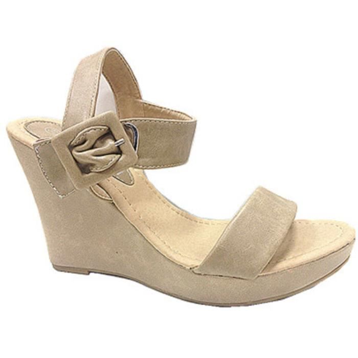 Fashionfolie888 - Femmes Chaussures sandales talon compensée au bout ouvert Escarpins FZ-506 BEIGE