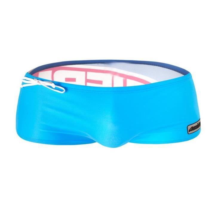 c671f6fa93 Bleu-Vert Maillot de bain Homme d'été Short de plage Slip de bain Piscine  Angle plat Lacet élastique Grande Taille S-XL