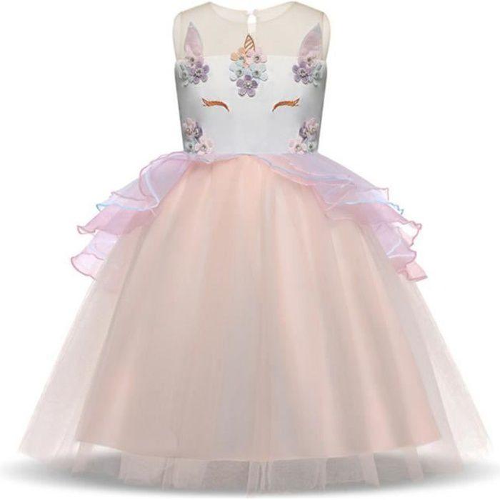 174d1792bdc WAIWAIZUI Fille Robe Déguisement Licorne Enfant Princesse Tutu Jupe Canaval Costume  de Photographie Florale Cérémonie Anniversaire F