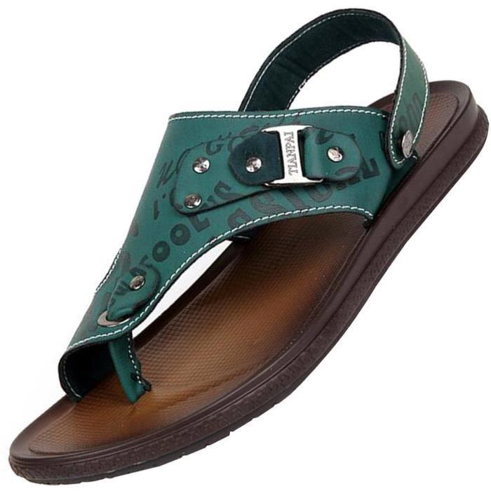 Sandales d'été d'affaires en cuir Casual Pantoufles Chaussures LUBJI Taille-41