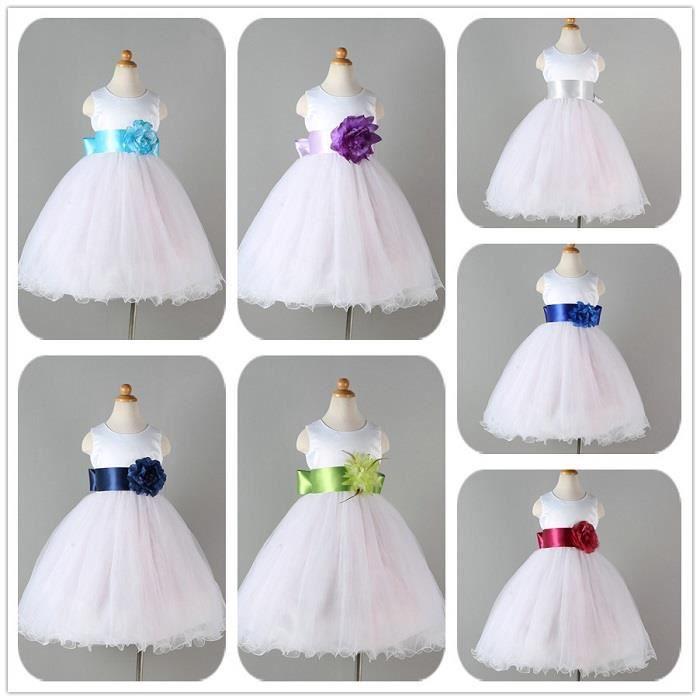 Fleur Fille Robes Dété Mode élégante Blanc Tache Robe pour Enfants En Bas Âge Enfants De Mariage Robe