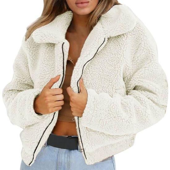 Laine beige D'hiver Zipper Veste Manteau Chaud Femmes Artificielle Dames Manteaux Parka q0WvZWtw