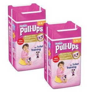 Lot de 2 HUGGIES Pull-Ups Girl Taille 4 - De 8 ? 15kg - 16 couches