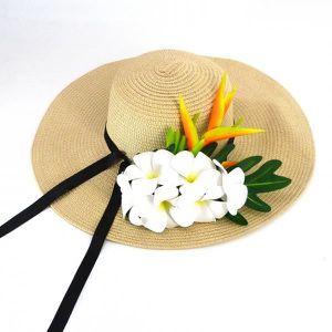 CHAPEAU - BOB Chapeau de paille blanc Fleurs blanches - Taille u 96b352f73bb