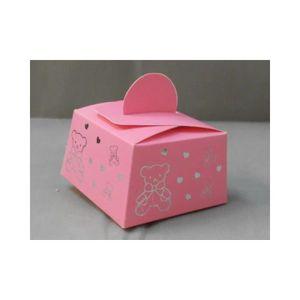 BOÎTE À DRAGÉES  50 boîtes à dragées baptême ours et coeur (rose)