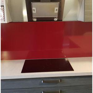 CREDENCE  Fond de hotte Aluminium Rouge pourpre H 60 cm x L